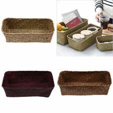 Rectangular Grass Woven Storage Basket Hamper Household Organizer Holder 3 Sizes