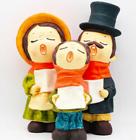 "Vtg Hand Painted Ceramic Christmas Carolers by ""MY"" Made in Korea Set of 3 NOS"