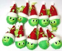 10 New Ornaments GREEN PEA ? CABBAGE face Red Santa Hat Target Happy Face Lot