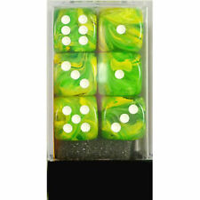 Chessex Dice d6 Set 16mm Dandelion w/ White Pips 6 Sided Die 12 Sets CHX 27652
