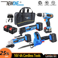 16V 4A Cordless Tools Combo Kit, DC Electric Drill With Angle Grinder ,Hand Saw