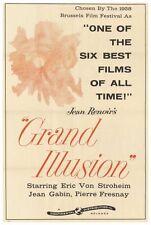 GRAND ILLUSION Movie POSTER 27x40 Jean Gabin Dita Parlo Pierre Fresnay Erich von