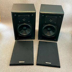 Denon SC-M2 Bookshelf Speakers, Wooden Cased, 70W 6 ohms, Black Wood, Tested