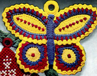 Vintage crochet pattern-how to make a flat 1940s Butterfly,tree decoration etc