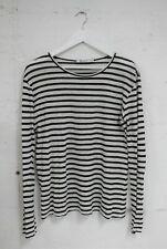 ALEXANDER WANG Long Sleeve Striped Linen Silk Top Size S