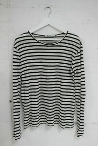 ALEXANDER WANG Long Sleeve Striped Linen Silk Top Size S