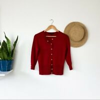 White House Black Market Red Cardigan Sweater Size S Small Women