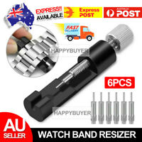 Adjustable Watch Band Bracelet Repair Tool Link Pin Remover 6 Replace Pins Metal