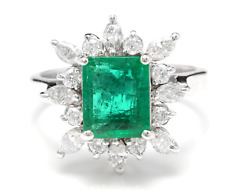 4.30Ct Natural Emerald & Diamond 14K Solid White Gold Ring
