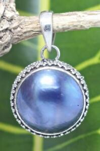 Handmade Sterling Silver .925 Bali Style Round Blue or White Mabe Pearl Pendant.