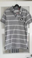 SuperDry 'Black Label' short-sleeved polo shirt grey striped - small