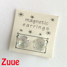 MAGNETIC FASHION EARRINGS 10mm CZ STONE clear crystal ear stud accessories