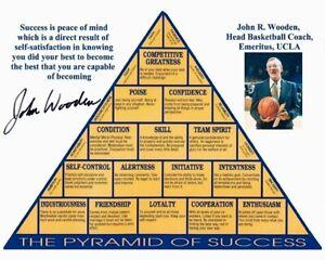 JOHN WOODEN signed PYRAMID OF SUCCESS 8x10 w/ coa UNIQUE UCLA COACH & BASKETBALL