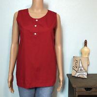 Basic Editions Misses MEDIUM Tank Top Shirt 3 Button Front Sleeveless Cotton