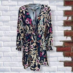 Womens Size Large Blue Floral Light Weight Wrap Style Long Sleeve Short Dress