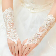 Lady Bride Wedding Dress Lace Hollow Out Bridal Gloves Bead Fingerless Glove Hot
