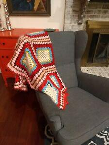 Vintage Handmade Crocheted Afghan Throw Blanket Granny SquareKnit Multi-Colored