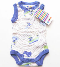 OA Body Gr.50 Joha NEU 100% Wolle weiß blau grün meer baby sommer frühchen ssv