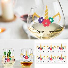 Unicorn Face Wine Glass Vinyl Decal Sticker Christmas Baubles Decoration