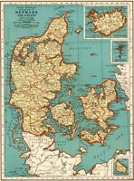1939 Antique DENMARK Map Collectible Map of ICELAND Map Gallery Wall Art 5877