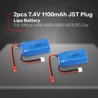 2pcs Quality 1100mAh 7.4V 25C JST Plug LiPo Battery A949-27 for 1/18 Wltoys A949