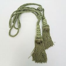 "Drapery Tassel Tie Back Fancy Corded Knotted Sage Green Set of 2*Victorian*24""L"