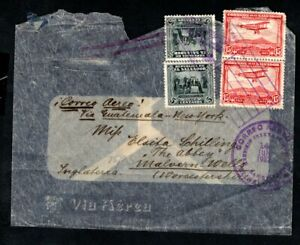 El Salvador - 1932 Airmail Cover to London, Cover has Airship Illustration