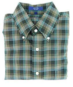 NWOT Alan Flusser Brown Blue Check Button Down Shirt Cotton Large NEW