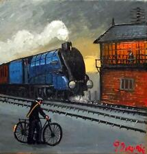 Blue Streamlined Loco : Original BEST Oil Painting Famous Artist James Downie