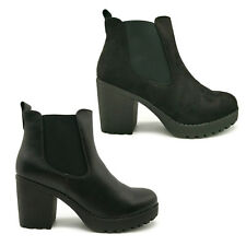 Womens Cleated Sole Suede Leather Chunky Block Heel Chelsea Elastic Ankle Boots
