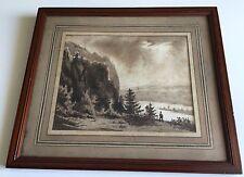 Ancien dessin aquarelle XIXème siècle, paysage pêcheur Alpes? tableau