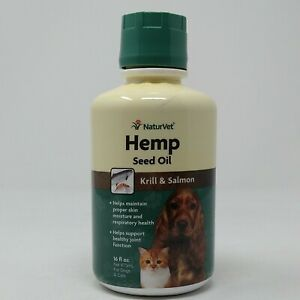 NaturVet Hemp Seed Oil - Krill & Salmon for Cats and Dogs 16oz, Exp 10/22, #9527