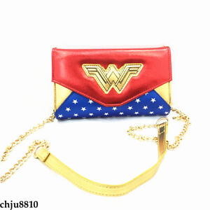 Wonder Woman Shoulder bag Zip Messenger Bag Boys Girls PU Travel Bag long Wallet