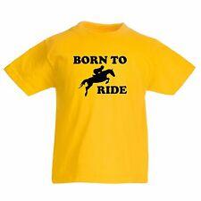 Born To Ride Kids T Shirt Horse Riding Equestrian Pony Boys Girls T-Shirt
