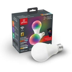 Globe Electric Wi-Fi Smart 60W Equivalent Color Changing RBG Tunable White (2p)