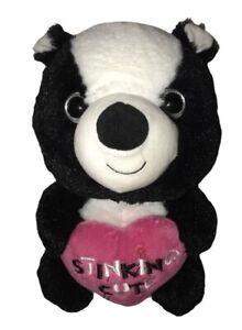 "Kellytoy Plush Skunk Stinking Cute Pink Heart Valentines Day 12"" Stuffed Animal"