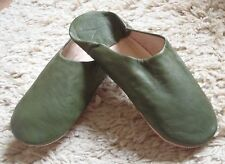 VERY SOFT LEATHER SLIPPERS / MULES * OLIVE GREEN 11/45 From Morocco