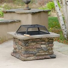 Elegant Outdoor Patio Fire Pit w/ Iron Fire Bowl, Stone Base, & Mesh Cover