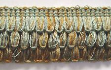 1.75 inch 3 layer loop Fringe Silver Blue Brown Match Braid Bullion Fringe Cord