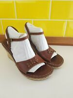 Hush Puppies Lilly Brown Leather Espadrille Wedge Heel Summer Sandals Size 8/42