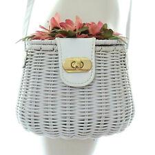 White Wicker Basket Purse Bag Shabby Chic Vintage Pink Flowers Rockabilly 50's