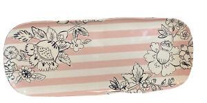 Vera Bradley Blush Floral Vanity Serving Tray Melamine Pink and White stripe