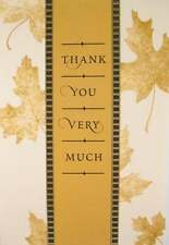 Thank You Braille Added Greeting Card -Thank You Very Much  Gold leaves - TY010