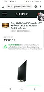 Sony 75 inch smart tv  model number kd-75x4900e read picture