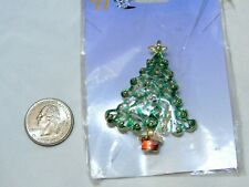 Brooch Gold Ornaments New Green & Goldtone Christmas Tree