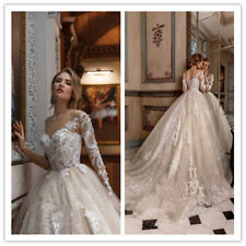 Vintage White Ivory Wedding Dresses Bridal Ball Gowns Lace Long Sleeve 2019 New