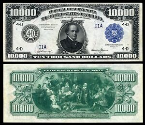Reproduction US $10,000 Dollar Bill, Series 1918 Large size with BLUE seal