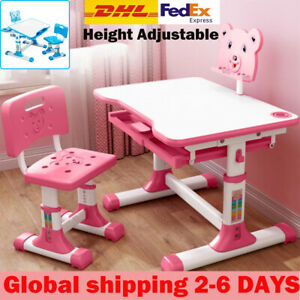Height Adjustable Kids Children's Study Desk and Chair Set Table W/LED Desk Pi
