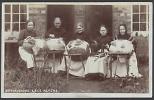 More details for bedfordshire lace makers - 5 ladies at work on bolster pillows. vintage rppc