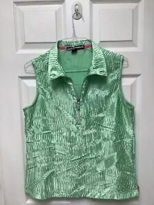 Jamie Sadock Women's Sleeveless Golf Top L Light Lime Green Crinkled 1/4 Zipper